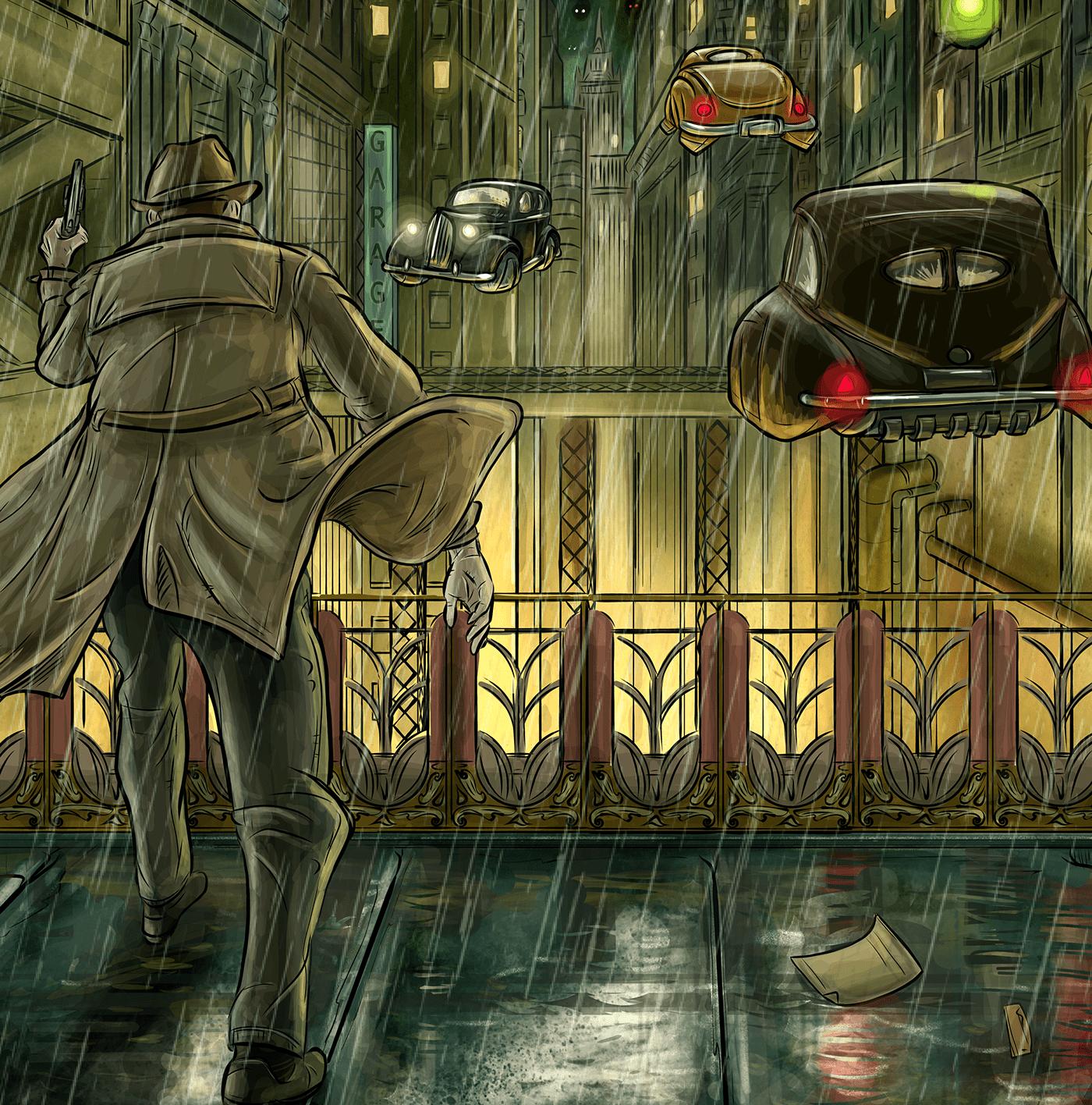 city comic detective dieselpunk film noir noir Retro retro future