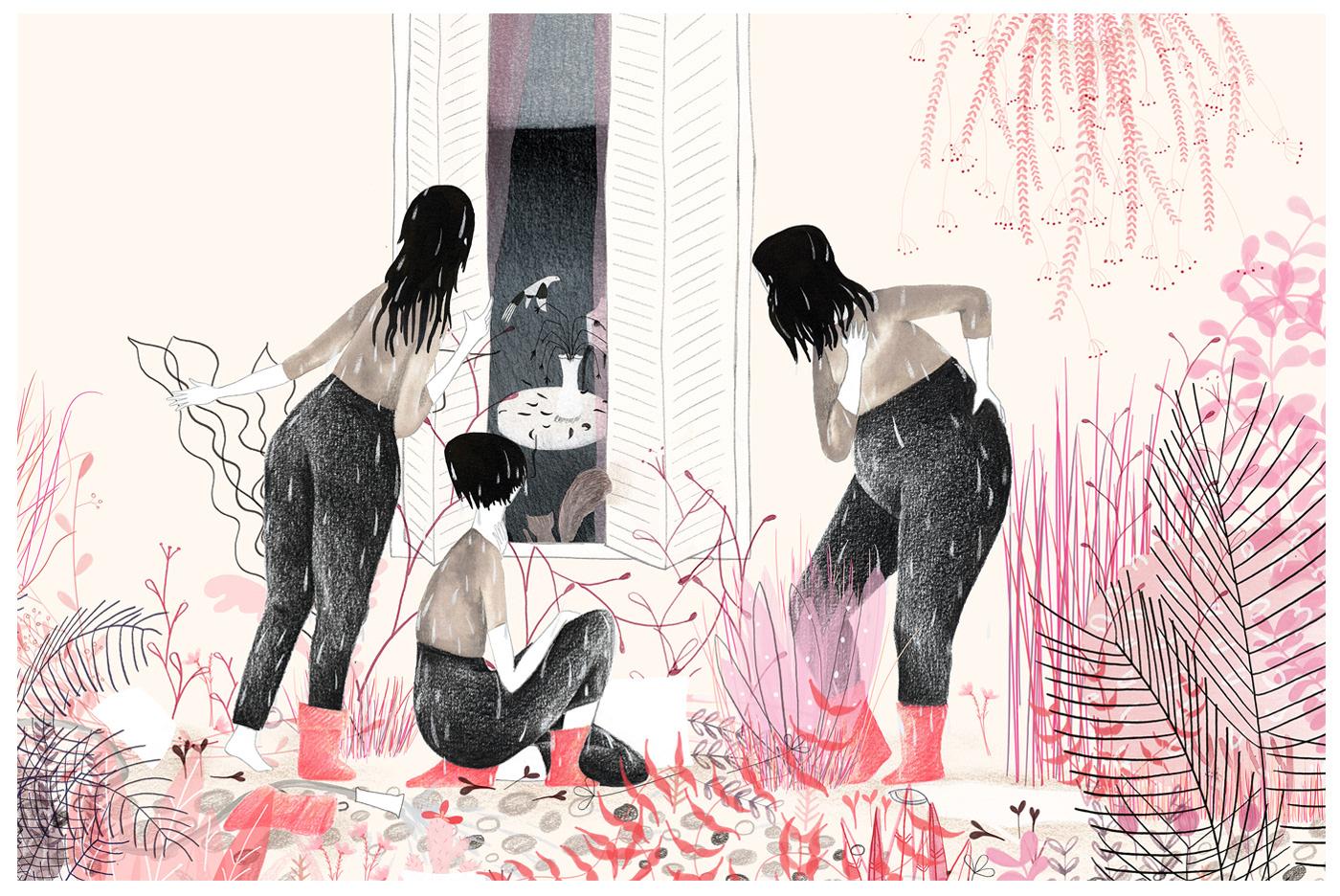 illustracion ILLUSTRATION  women Mujeres jardin garden pink sharjah Exhibition