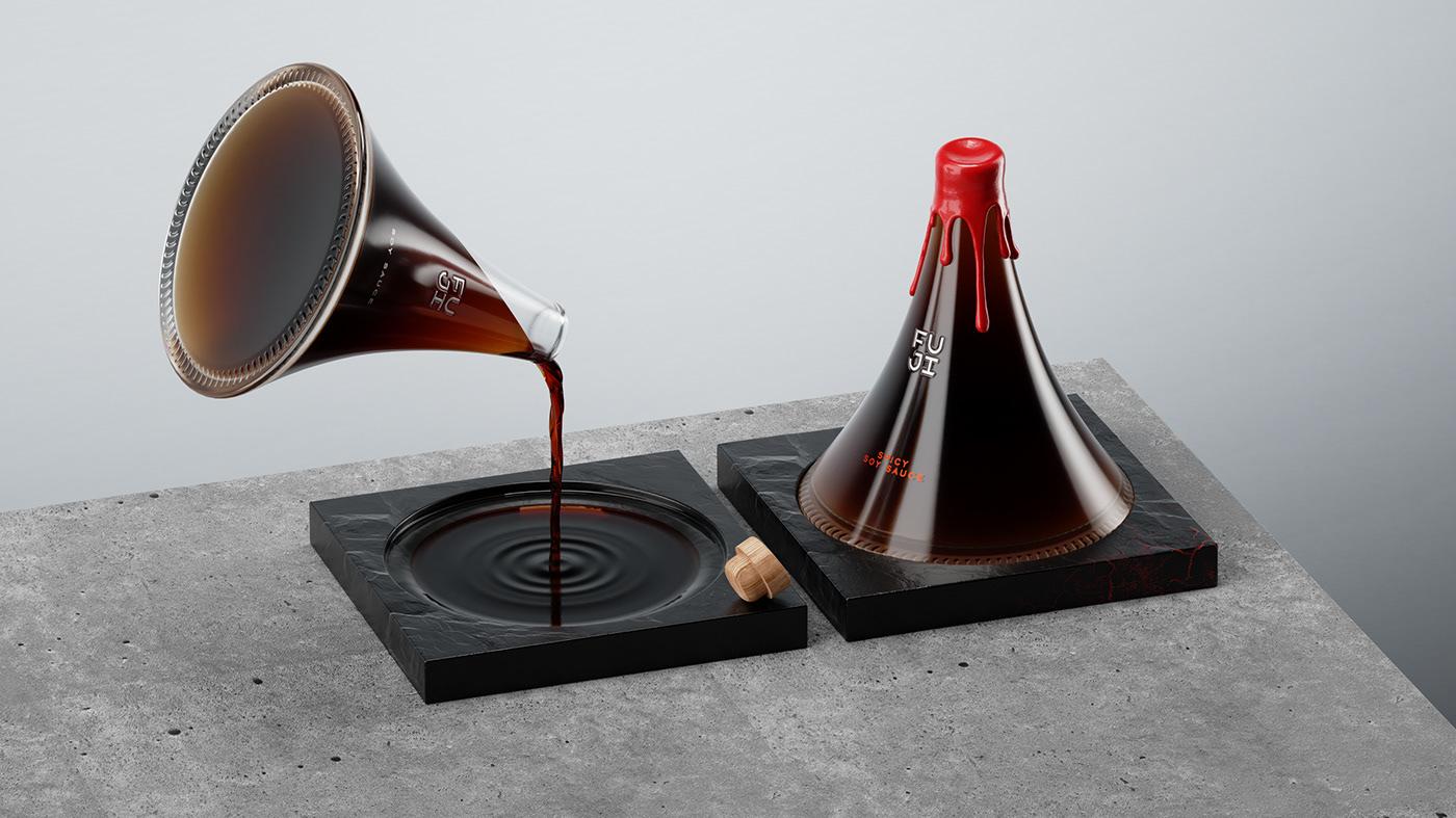 creative,fuji,japan,mountain,Packaging,packaging design,soy sauce,volcanic