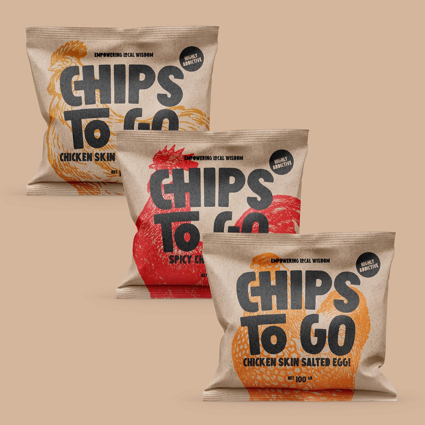 chips Chicken Chips Chicken skin snack snack food snacks snack packaging packaging design branding  Food