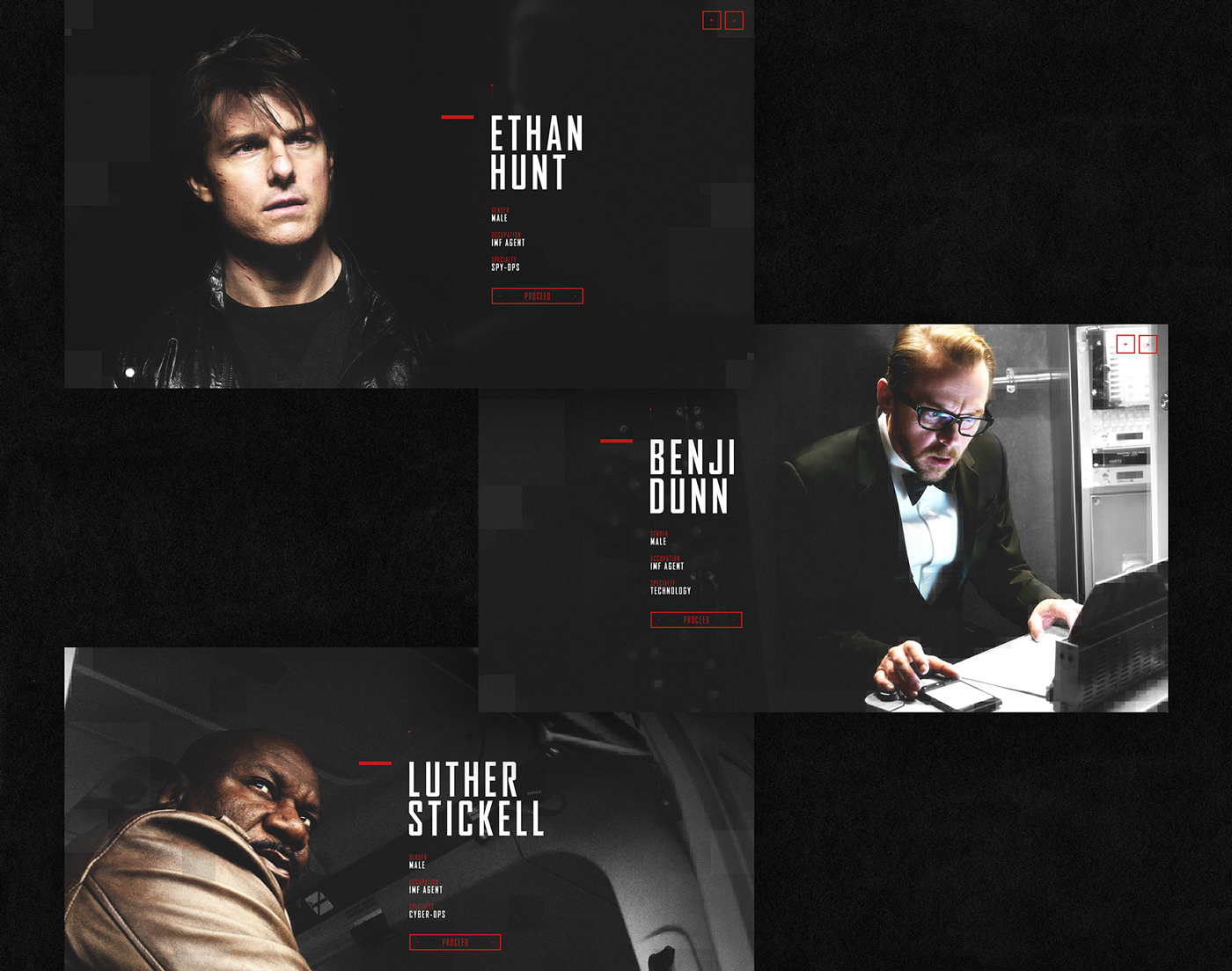 movie Paramount Pictures MI5 mobile desktop design Interface red grey spy