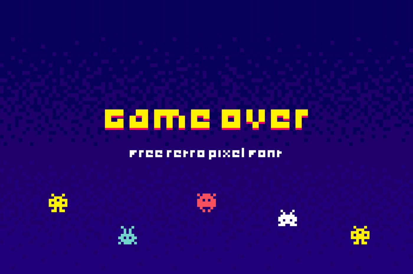 typography   free font pixel Retro type game arcade 80's