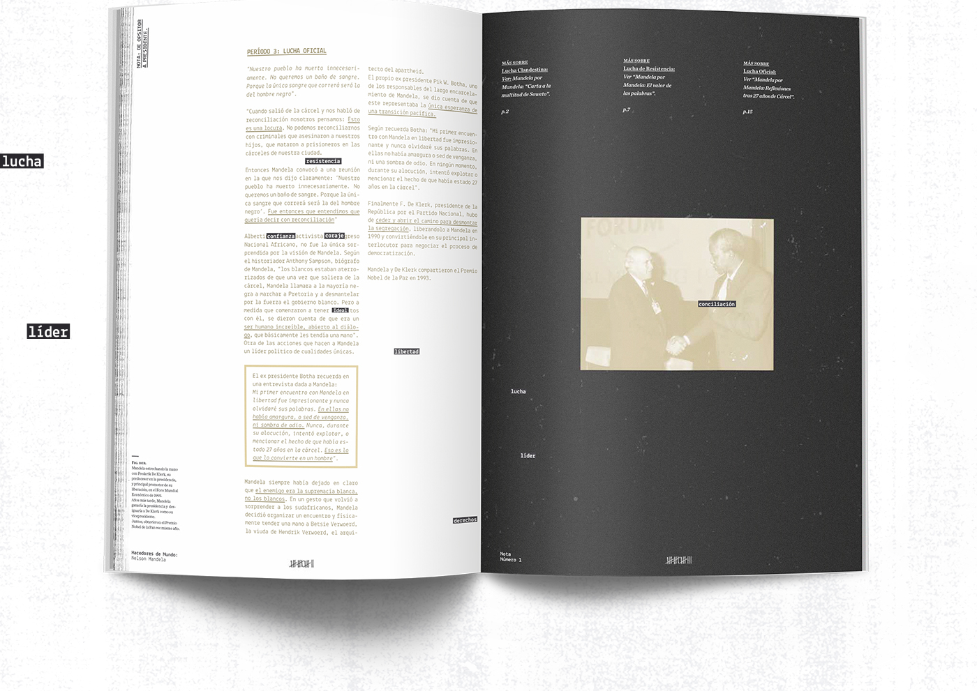 Nelson Mandela Mandela editorial design fascicles Hacedores de Mundo typography   fasciculos colección magazine