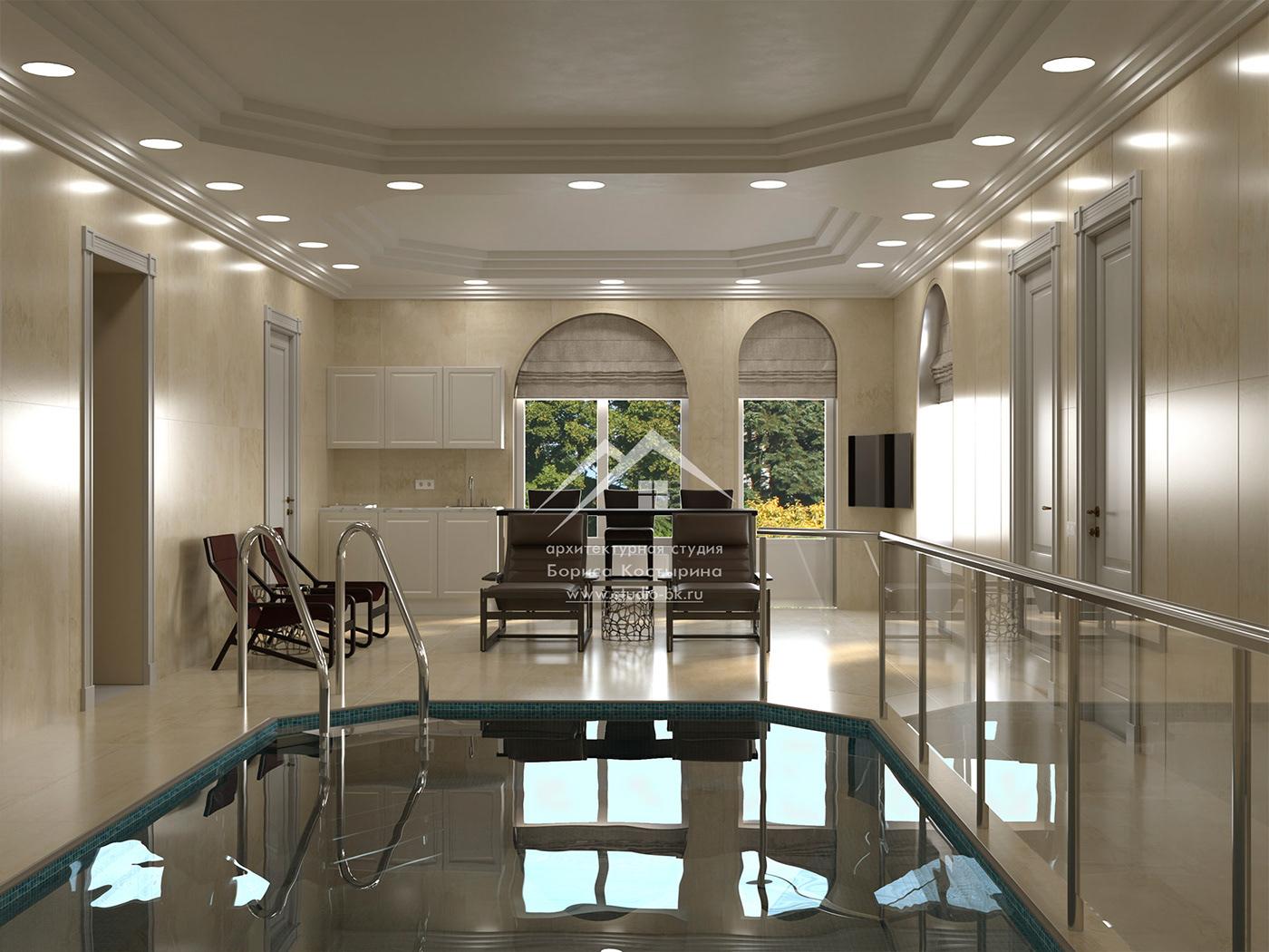 дизайн интерьера интерьер частного дома проект бассейна спа-зона