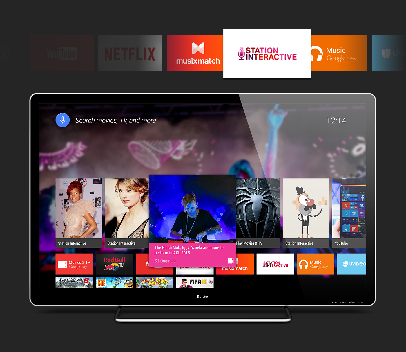 Web Android TV user interface material design Android Wear app Multimedia  Chat video template freebie psd