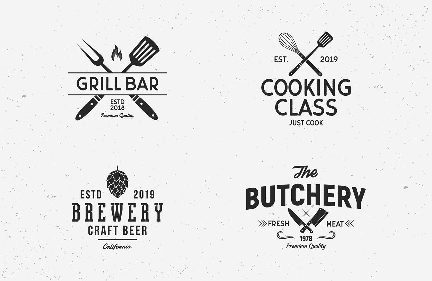 free vintage logo Food  restaurant set Retro commercial use design