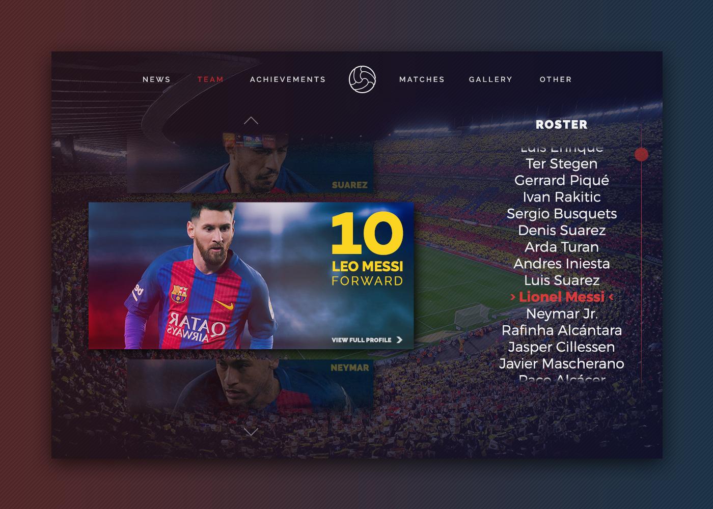 Web design UI ux Barca football motion animation  interaction Website