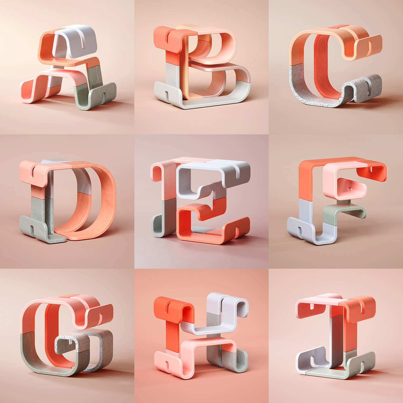 Modish 3D Typography by BÜRO UFHO - 36 Days of Type'19