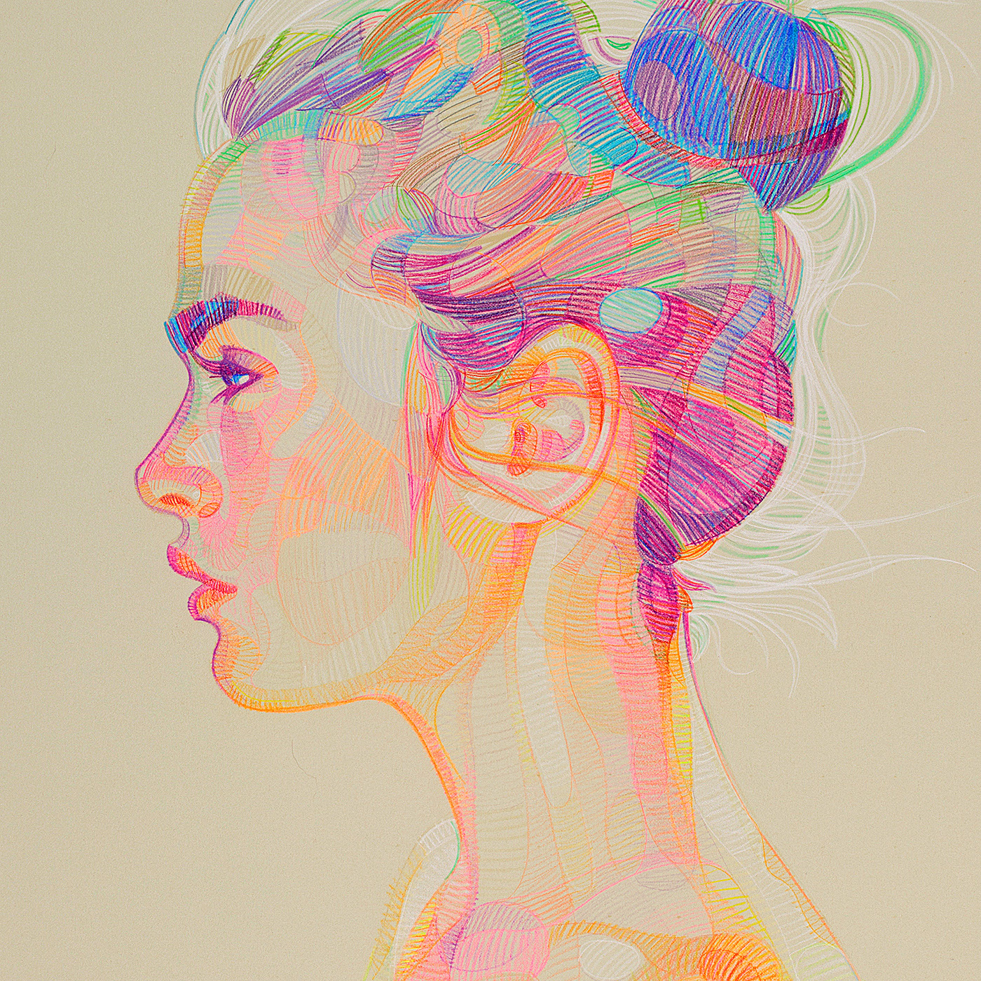 Linear Thinking Series: Colored Pencil Illustrations