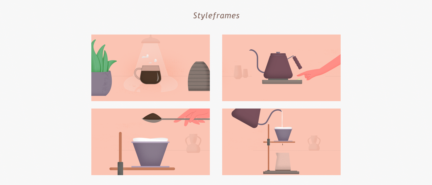 Several styleframes of the project
