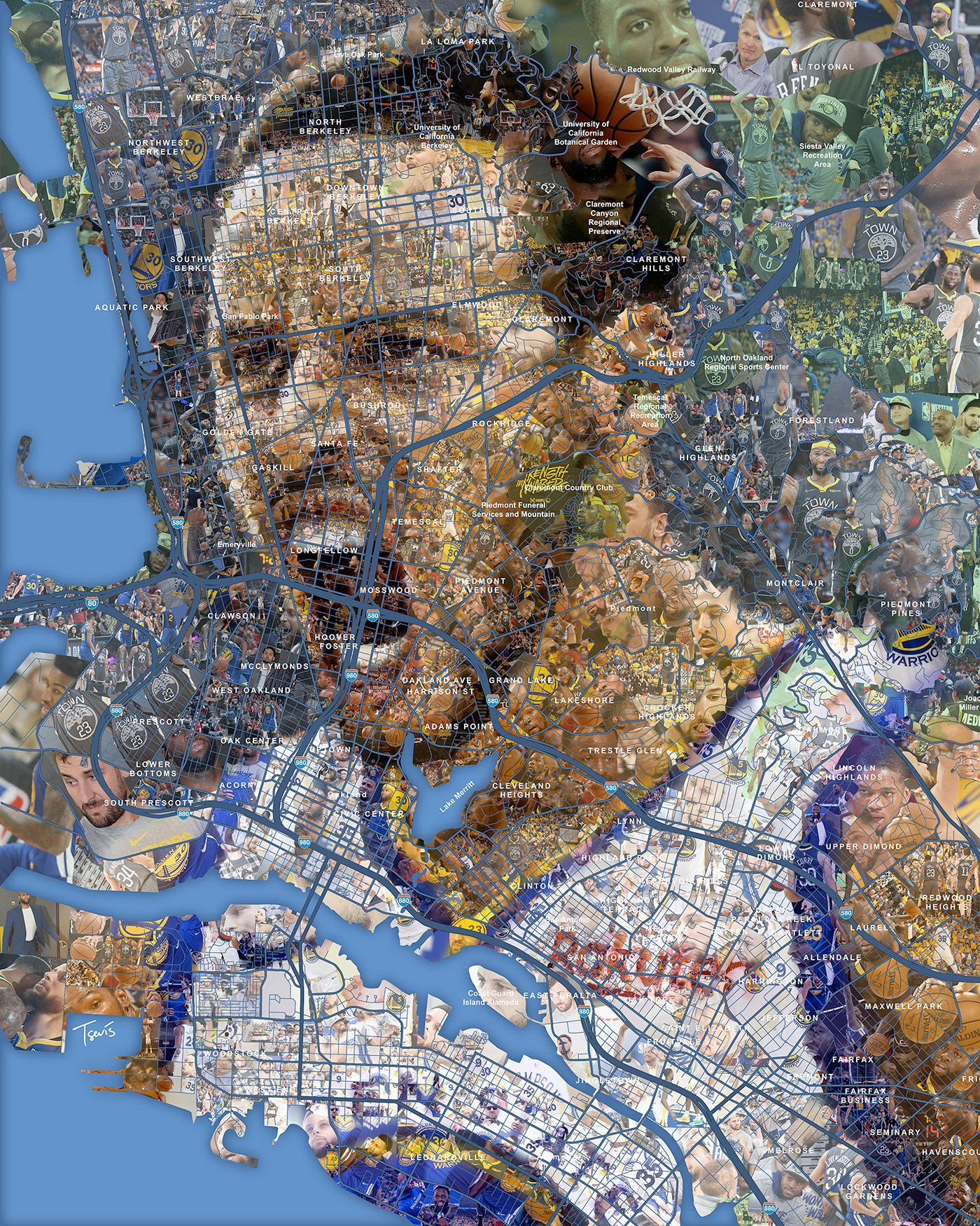 NBA Finals'19: Mosaic Portraits for Bleacher Report - Sport Illustrations