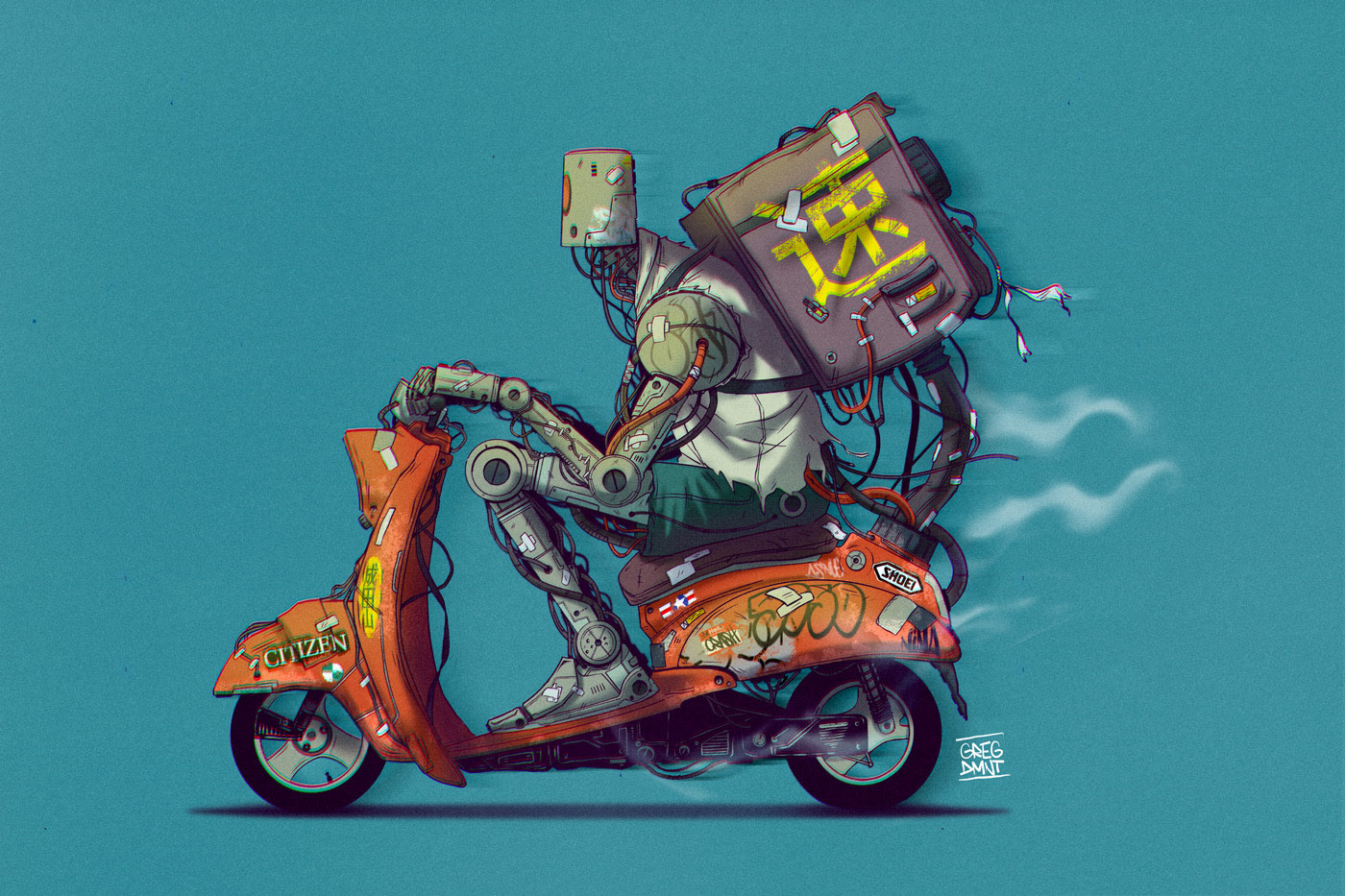 Deliverybot - 30 minutes or free pizza illustration by Greg Dmnt (Grapheart)