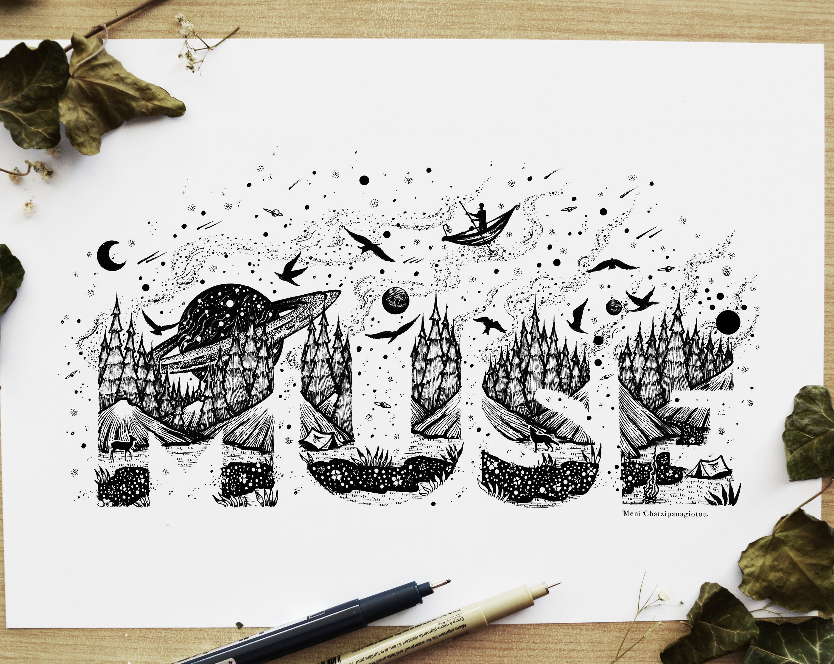 Lettering Illustrations by Meni Chatzipanagiotou