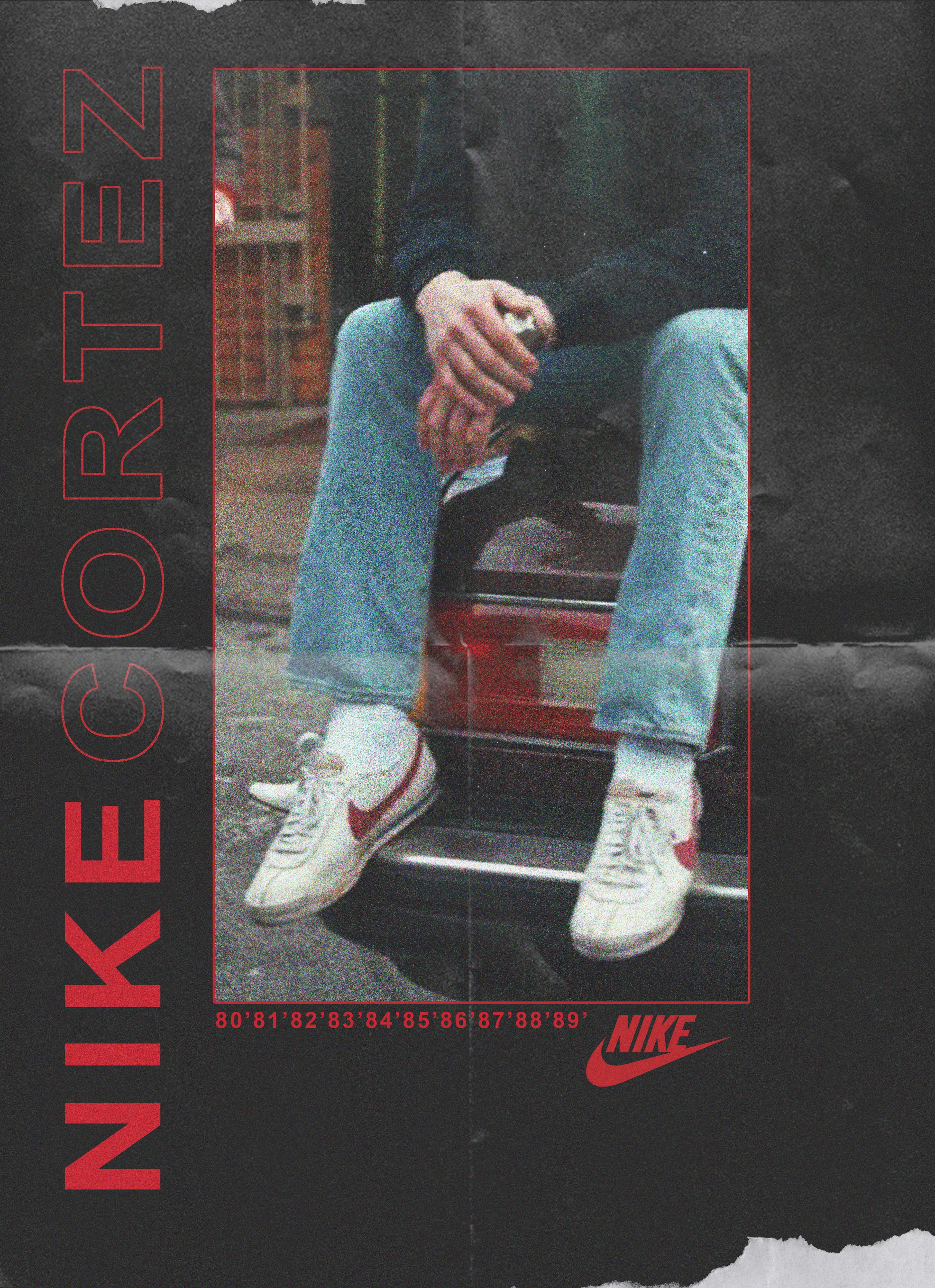 the latest 6ec05 0de83 Nike Cortez 1980's Poster Experiment on Behance