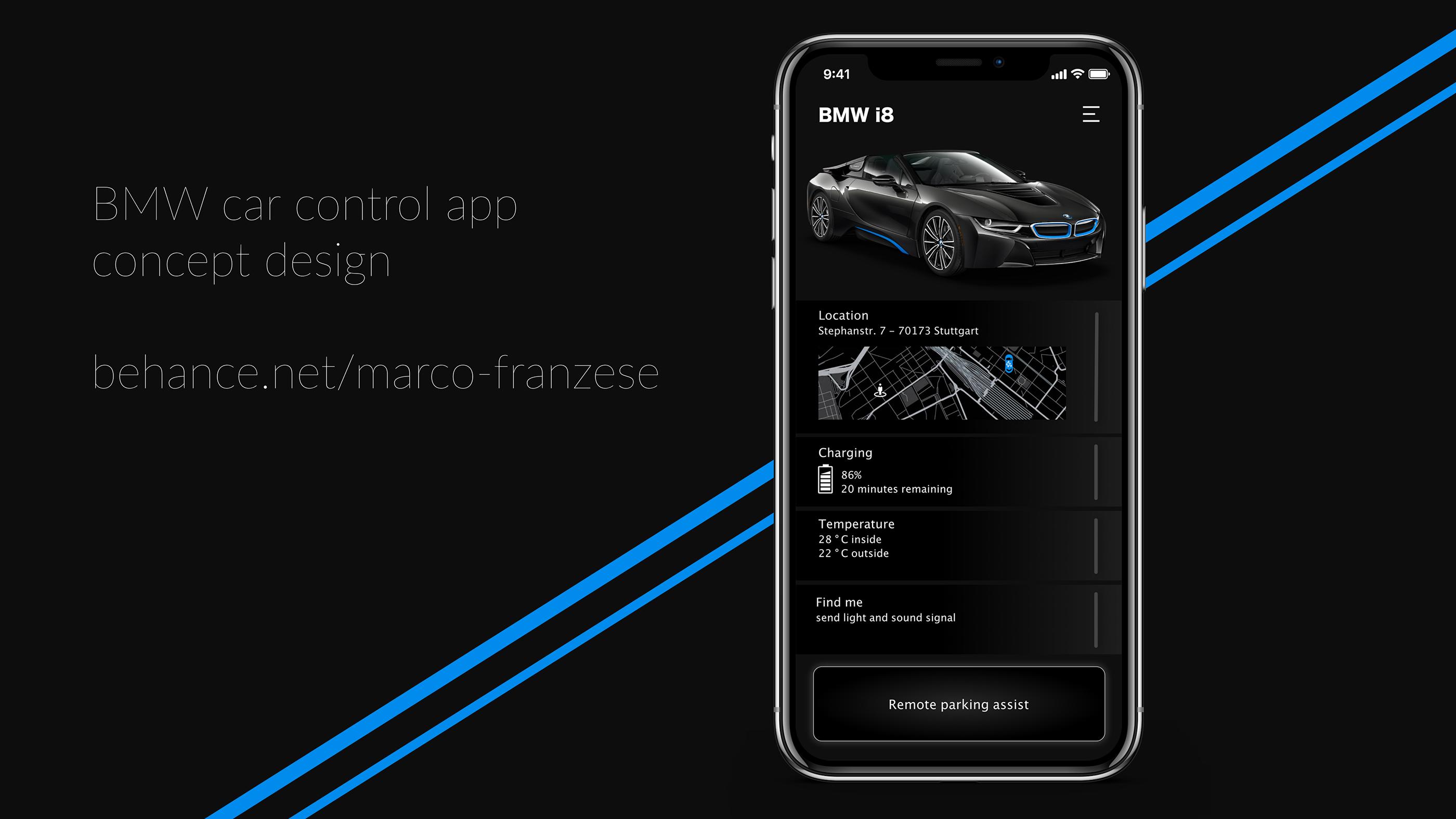 WIP]BMW car control app - concept art on Behance