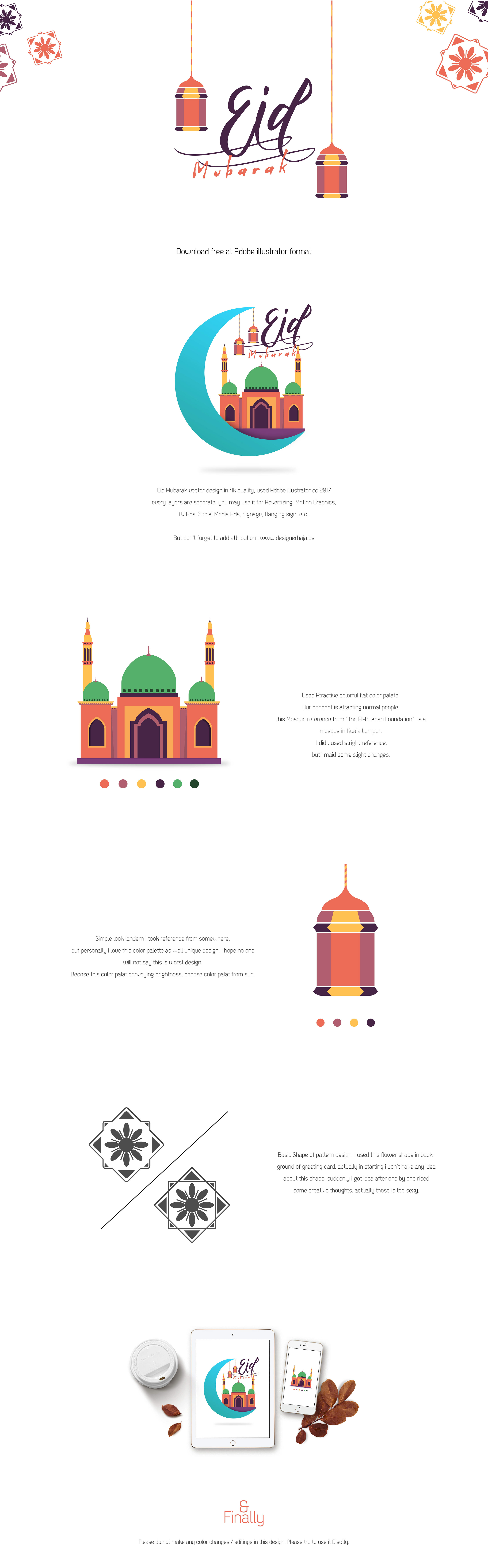 Eid Greeting Free Vector On Behance