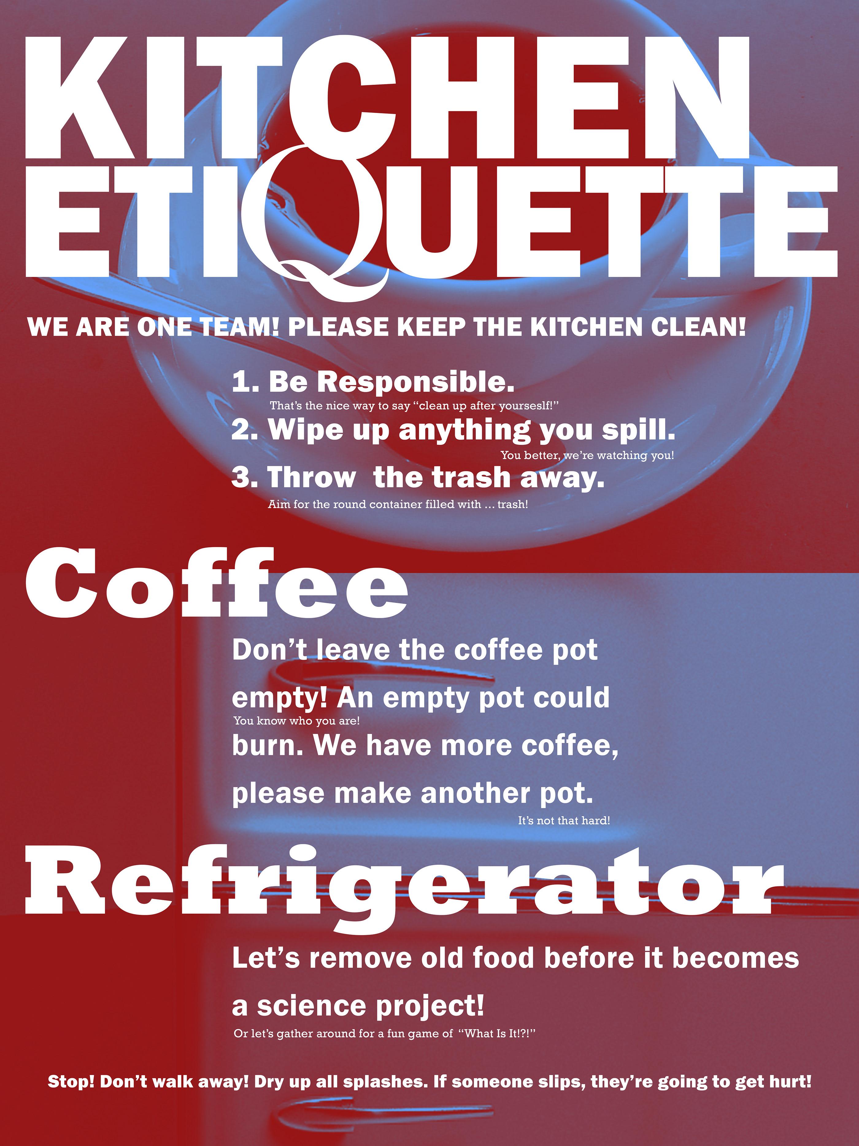 Kitchen Etiquette Poster On Behance
