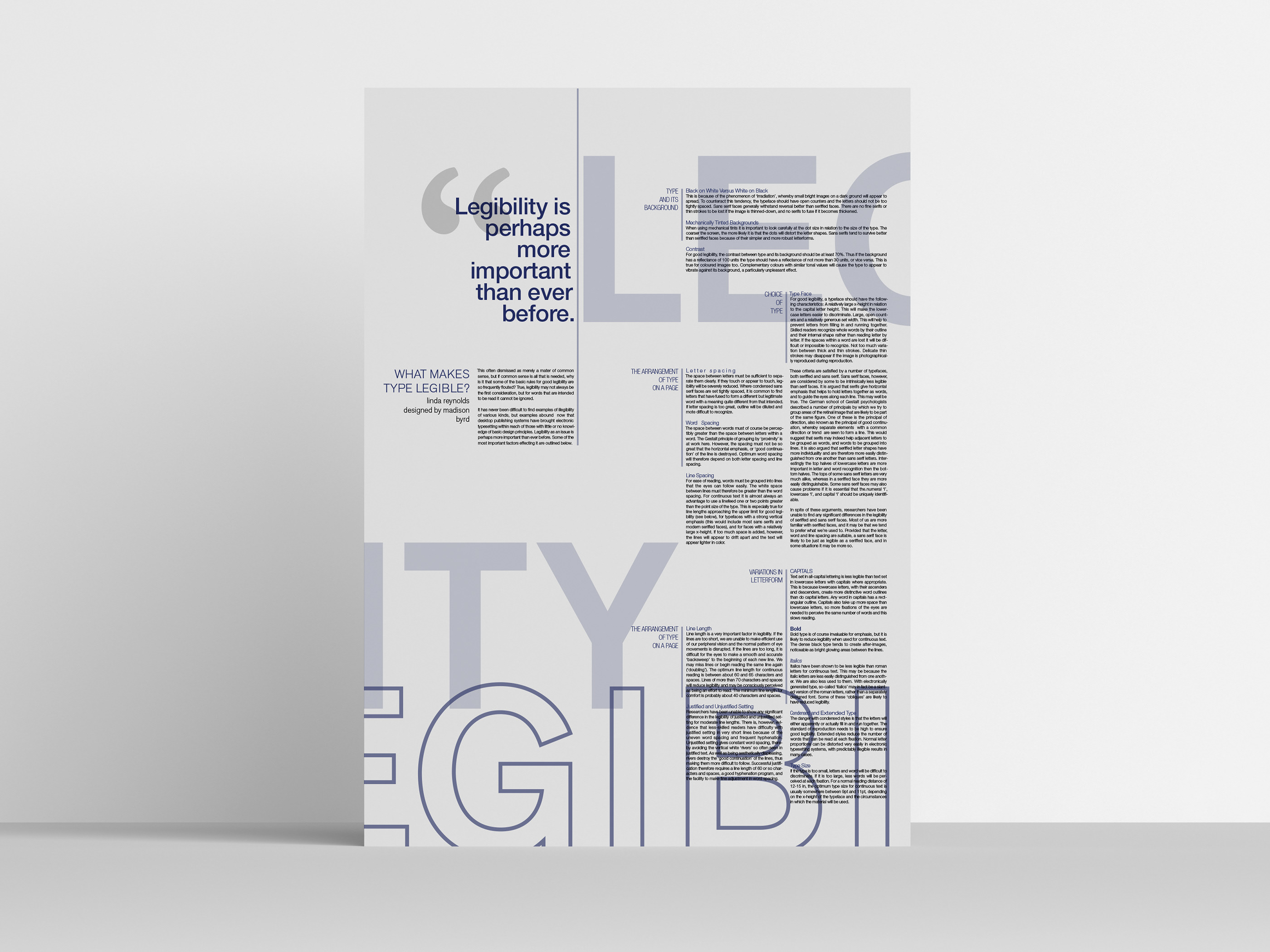 The Legibility of Type Poster on Behance