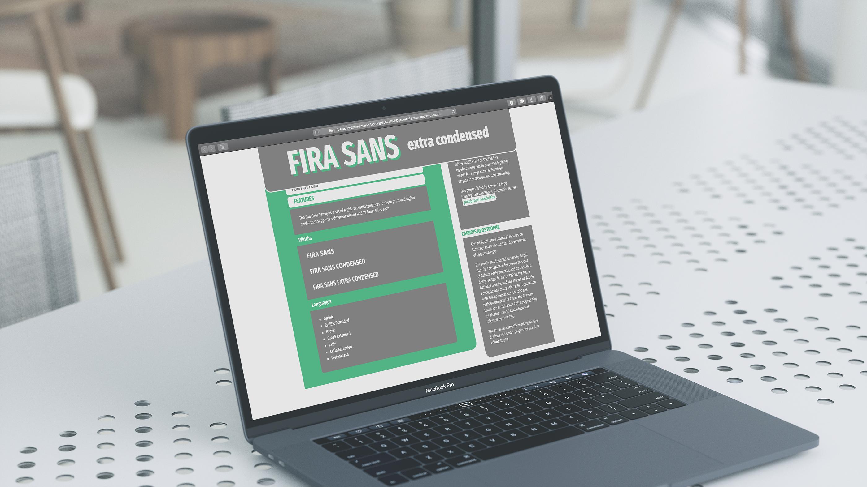 Fira Sans Type Specimen on Behance