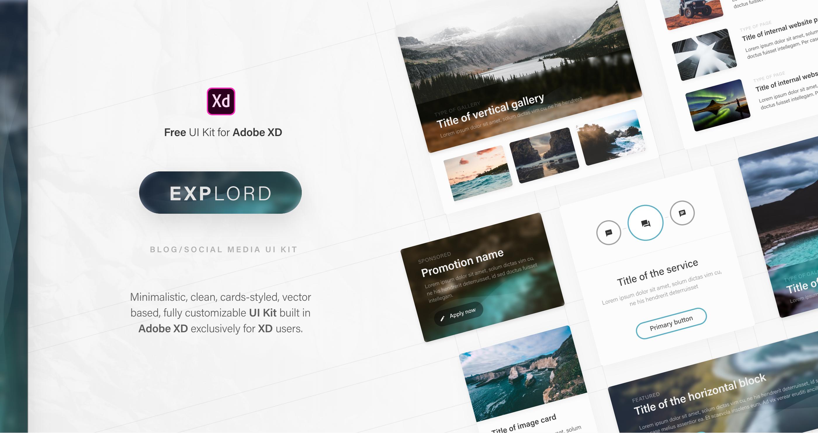 Explord Free Ui Kit For Adobe Xd On Behance