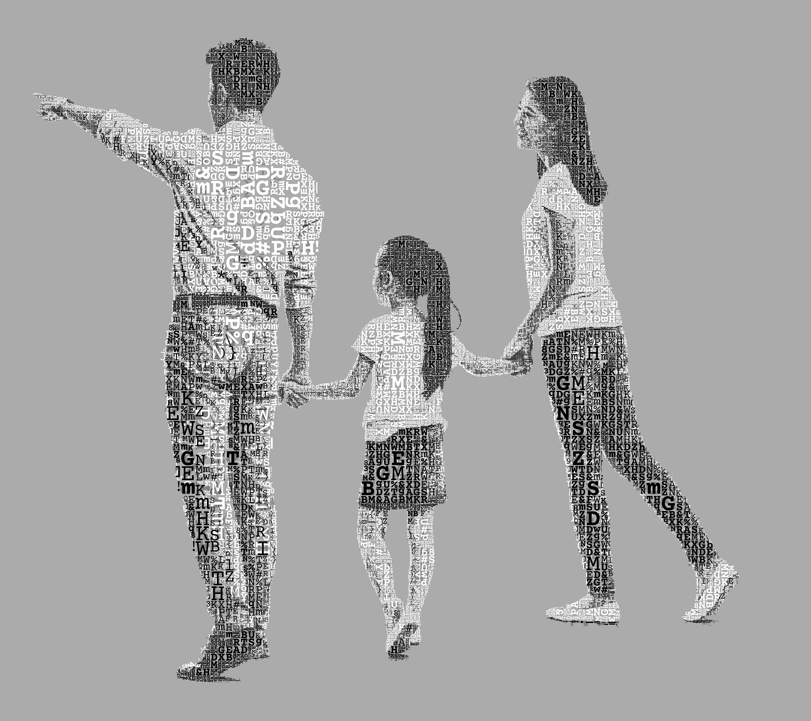 A family (back view). Mom, Dad and Daughter