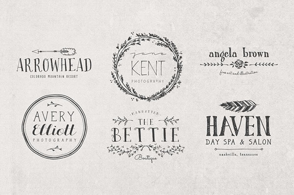 Hand drawn logos elements vol 2 on behance