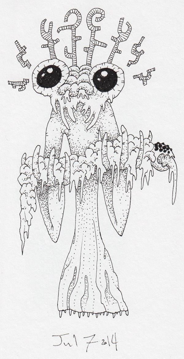demon monster freak alien eldritch devil ink paper