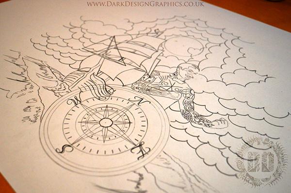 Pirate ship custom tattoo design on behance