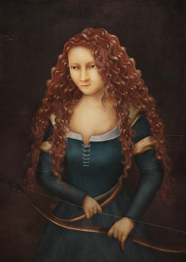 digital painting renaissance art snow white cinderella mulan Jasmine ARIEL pocahontas rapunzel tiana Brave disney Princess portrait Belle