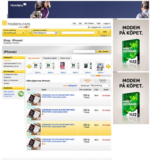 2008 Swedish Tradera Ebay On Behance