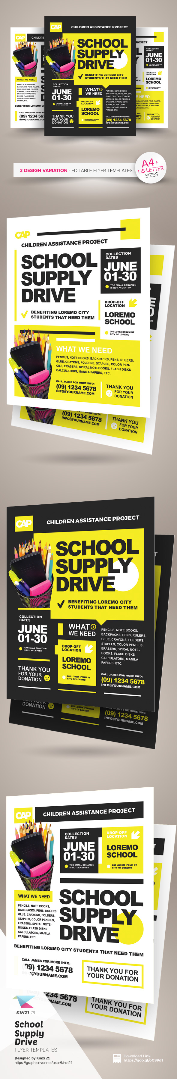 school supply drive flyer templates on behance school supply drive flyer templates are fully editable design templates created for on graphic river more info of the templates and how to get the