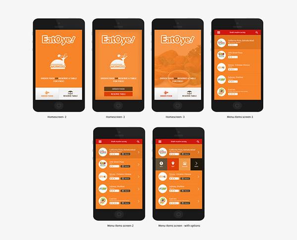 Eatoye food odering mobile app design on behance