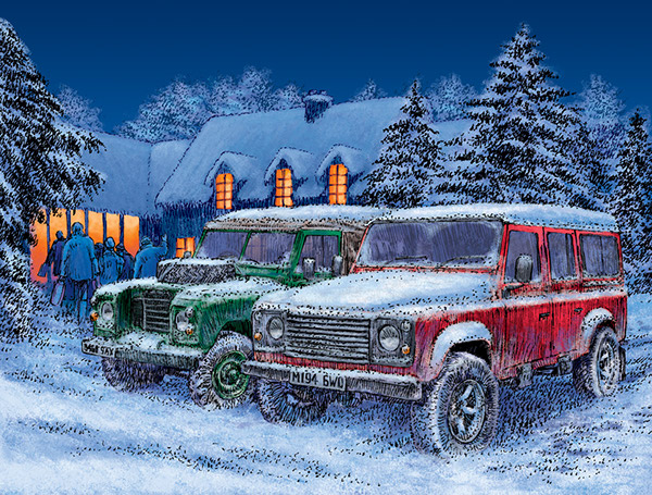 Used Land Rovers >> Land Rover Christmas card illustration on Behance
