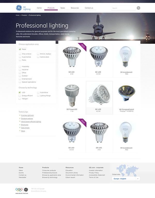 Webdesign  screen design interface design  UI Design general electric ge