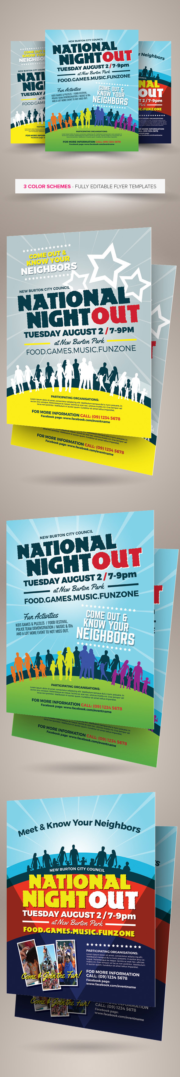 national night out flyer templates on behance national night out flyer templates are fully editable design templates created for on graphic river more info of the templates and how to get the