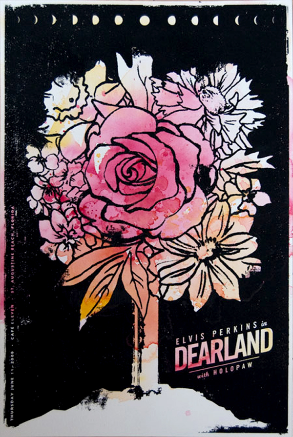 Screenprinting watercolor colorful Fun band poster Elvis Perkins in Dearland black ink