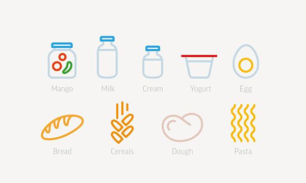 Food  pict icons idenity set elementaree
