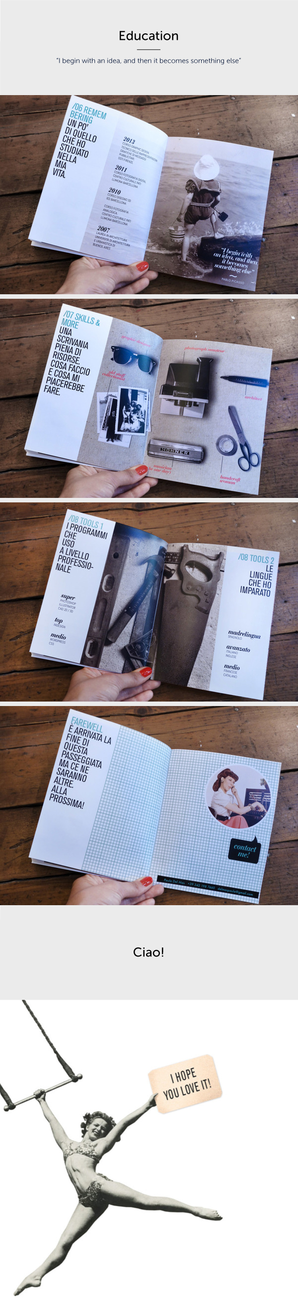 resume book book portfolio CV curriculum Florence Italy brochure