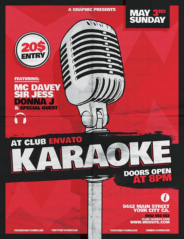 karaoke flyer template on behance