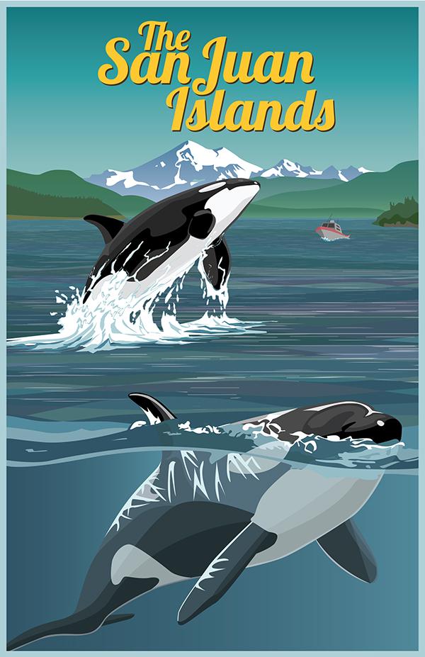 San Juan Islands Poster by Eli Caudillo