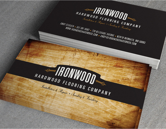 Ironwood hardwood flooring business cards on behance for Flooring business cards
