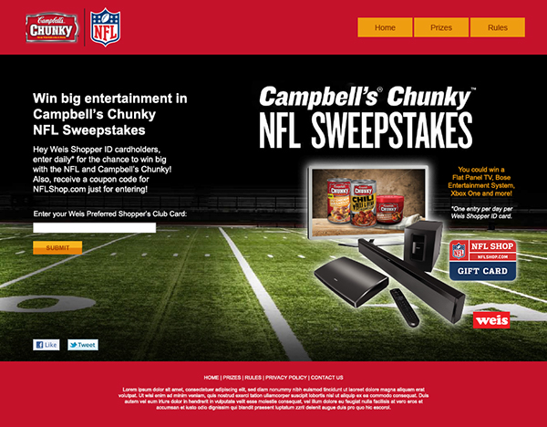 Campbellu0027s Chunky And NFL Sweepstakes Website Design On Behance