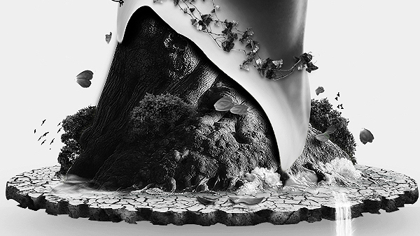woman abstract photomanipulation black and White b/w Tree  surreal