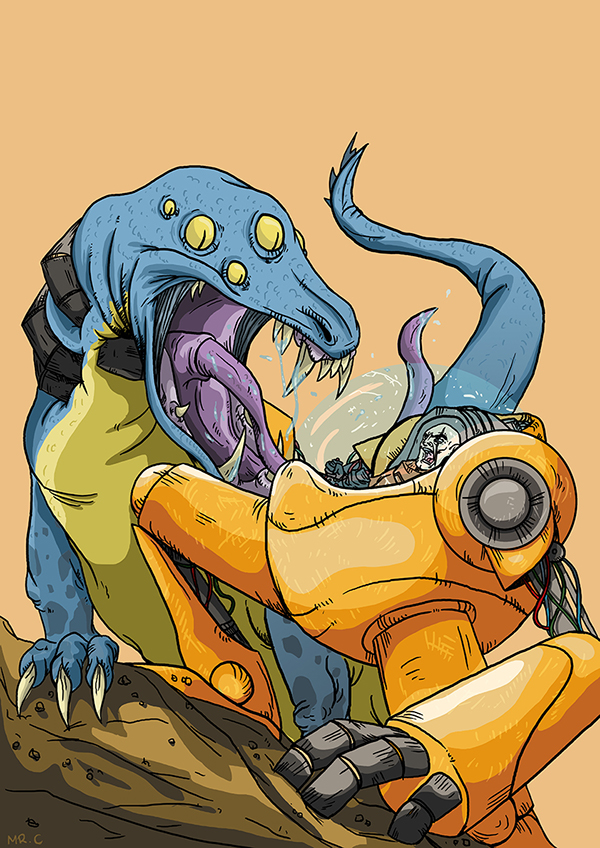 alien mecha digital art Scifi robot Character design lizard action fight interestellar