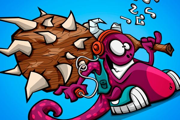 monster creature Character iphone wallpaper ipad wallpaper cartoon vector funny music smasher bat Crush purple