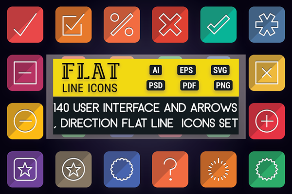 Arrows and User Interface Flat Line Icons | iOS Android on