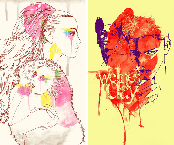 woman girl watercolor traditional old fashion design