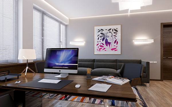 Interior design and visualization of a personal office room for Interior decorating visualizer