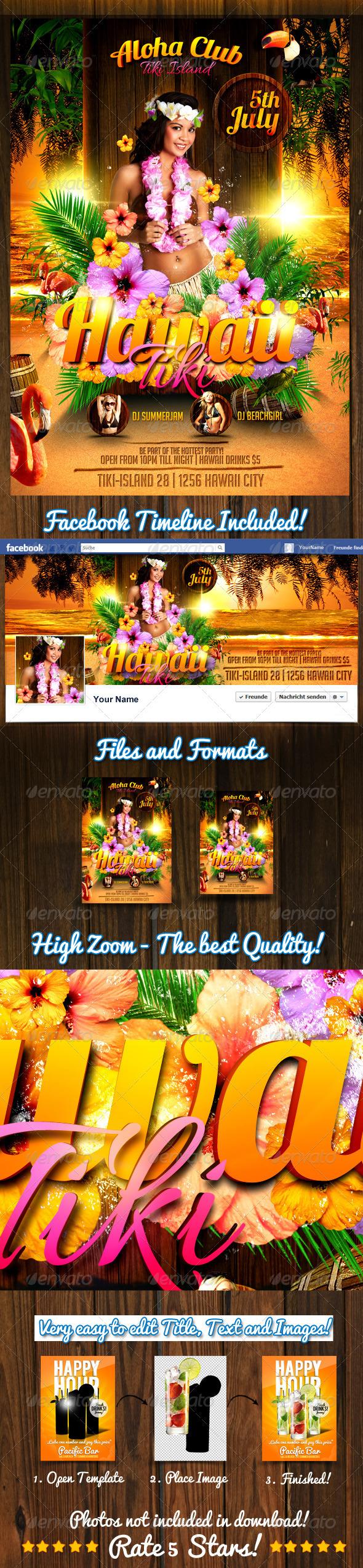 hawaii tiki flyer template on behance