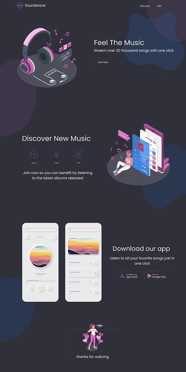 Soundwave web design. App design Ui/Ux